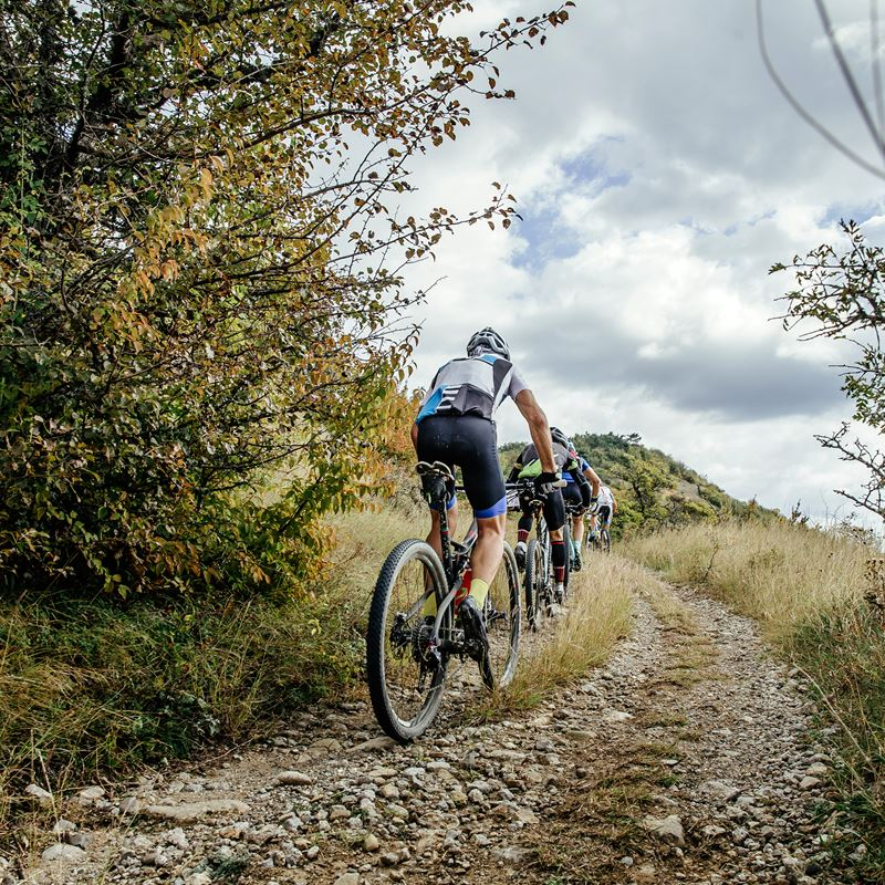 Mountainbikers St. Pietersberg Beklimming